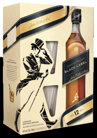 Johnnie Walker Black Met 2 Glazen 70CL Whisky 5000267170282